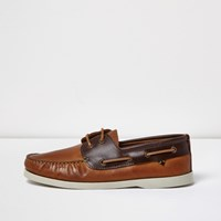 River Island Mens Brown Dual Colour Leather Boat Shoes