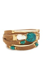 Taylor And Tessier Primer Bracelet Cream Gold Turquoise