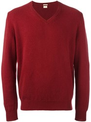 Massimo Alba V Neck Sweater Red