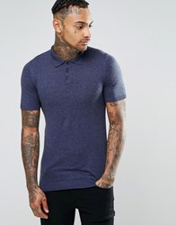 Asos Muscle Fit Knitted Polo In Navy Twist Cotton Navy Grey Twist