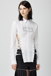 Hood By Air Embellished Long Sleeve Corset Shirt White
