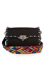 Valentino Rockstud Rolling Leather Cross Body Bag Black Multi