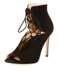 Gianvito Rossi Suede Cutout Lace Up 105Mm Bootie Black