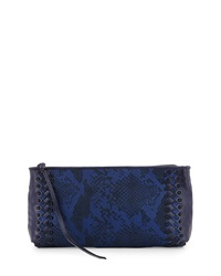 Elliott Lucca Maia Snake Embossed Woven Clutch River
