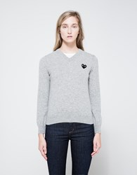 Comme Des Garcons Black Heart Play Pullover Light Grey