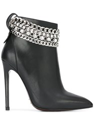 Gianni Renzi Silver Tone Chained Ankle Boots Black