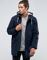 Esprit Fish Tail Parka With Teddy Hood Lining In Navy Navy Black