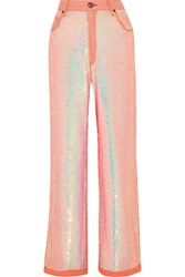 Ashish Sequined Mid Rise Boyfriend Jeans Antique Rose