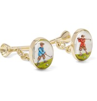 Deakin And Francis Golfer Tee 18 Karat Gold Painted Cufflinks Gold