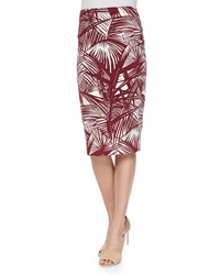 Elizabeth And James Aisling Palm Print Pencil Skirt Ivory Cherry