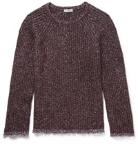 Valentino Cotton Trimmed Wool Blend Sweater Burgundy