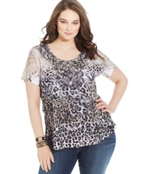 Style And Co. Plus Size Printed Studded Tee Leopard Crush