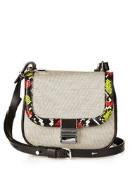 Proenza Schouler Kent Tiny Snakeskin And Canvas Cross Body Bag Black Multi