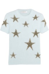 Valentino Star Intarsia Angora Blend Top Sky Blue