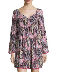 Romeo And Juliet Couture Paisley V Neck Shift Dress Pink Multi