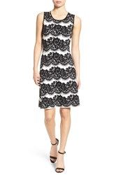 Vince Camuto Women's Lace Print Sleeveless Sweater Dress