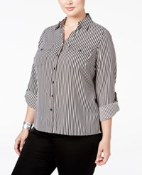 Ny Collection Plus Size Striped Utility Shirt Yardville
