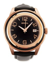 Breil Milano Men's Orchestra Leather Strap Watch Black Rose Gold
