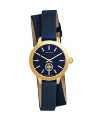 Tory Burch Collins Goldtone Stainless Steel And Leather Double Wrap Strap Watch Navy