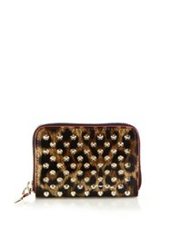 Christian Louboutin Panettone Spiked Leopard Print Coin Purse Brown Gold