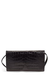 Vince Croc Embossed Convertible Clutch Black