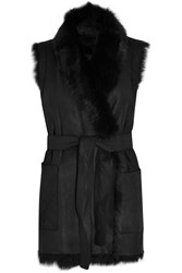 Vince Reversible Shearling Vest Black