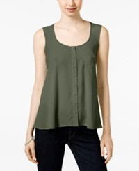 Styleandco. Style And Co. Petite Button Front Tank Only At Macy's Olive Sprig