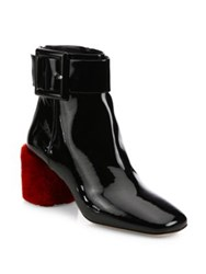 Miu Miu Buckle Patent Leather And Shearling Block Heel Booties Black