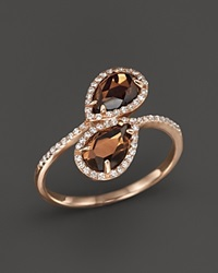 Bloomingdale's Smokey Topaz And Diamond Ring In 14K Rose Gold Brown Pink