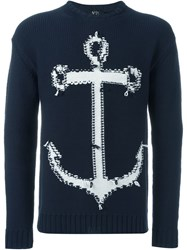 No21 Anchor Intarsia Sweater Blue