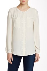 Twelfth St. By Cynthia Vincent Embroidered Long Sleeve Blouse White