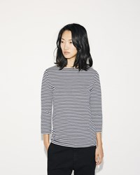 Sunspel Boat Neck Stripe Tee White Navy