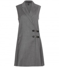 Marc By Marc Jacobs Tuxedo Pinafore Wool Dress Grey