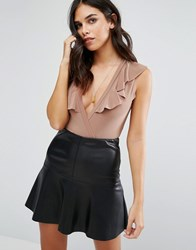 Love Bodysuit With Frill Suede Beige