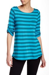 Cable And Gauge Striped Hi Lo Tee Blue