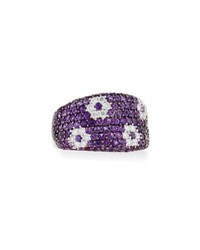 Roberto Coin Fantasia 18K Amethyst And Diamond Flower Band Ring Size 6.5