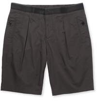 Wooyoungmi Slim Fit Pleated Cotton Shorts Gray