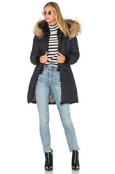 Soia And Kyo Chrissy Coat With Asiatic Raccoon Fur Trim Navy