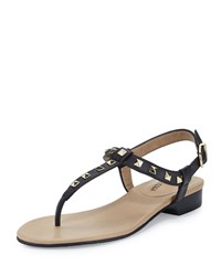 Neiman Marcus Breana Studded Leather T Strap Sandal Black