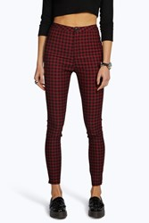 Boohoo High Rise Gingham Denim Skinny Jeans Black