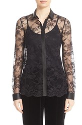 Lafayette 148 New York Women's 'Harla' Faux Leather Trim Lace Blouse Black