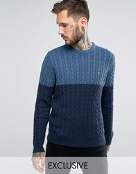 Farah Jumper With Cable Knit Exclusive Dusky Blue Navy
