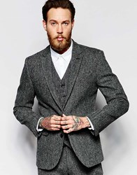 Asos Slim Blazer In Grey Harris Tweed Grey