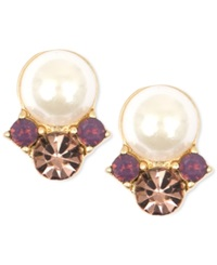 Lonna And Lilly Faux Pearl And Glass Bead Earrings Purple