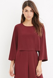 Forever 21 Contemporary Dolman Sleeved Crop Top Burgundy