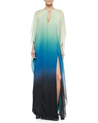 Halston Heritage V Neck Ombre Caftan With Sheer Overlay