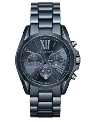 Michael Kors Bradshaw Chronograph Blue Ip Stainless Steel Bracelet Watch Navy