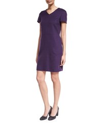 Loro Piana Janet Short Sleeve Cashmere Dress Purple Moon