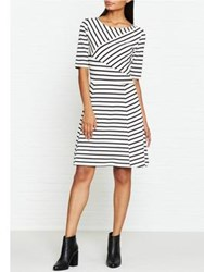 Tommy Hilfiger Oliver Boat Neck Striped Dress White