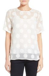 Women's Vince Camuto 'Big Dot' Sheer Jacquard Tee With Camisole New Ivory